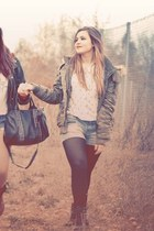 leather boots - dark khaki coat - jeans shorts - white blouse