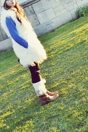 brown boots - blue dress - white coat - white hat - black leggings - white socks