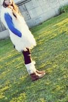 brown boots - blue dress - white coat - white hat - black leggings - white socks