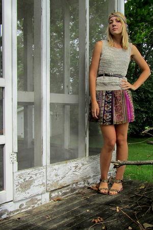 purple Heritage dress - purple DIY accessories - beige found vest - brown thrift