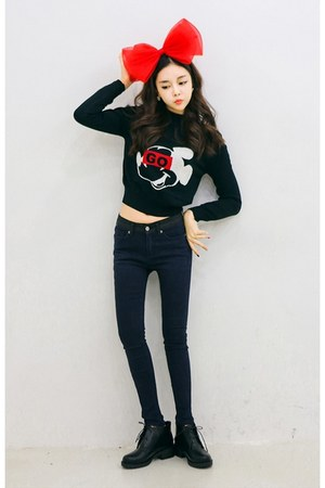 black yubsshop shoes - navy yubsshop jeans - yubsshop top