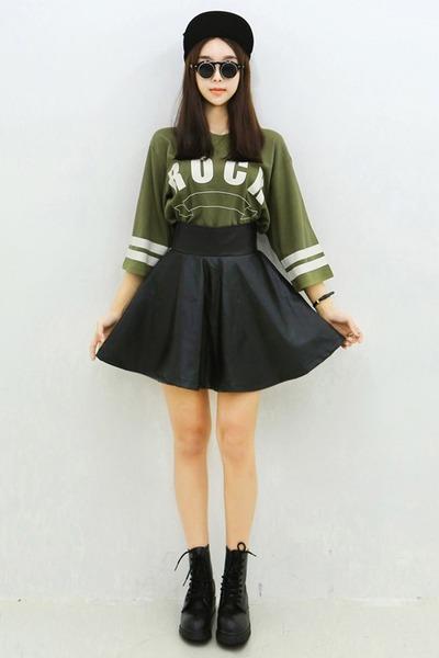 yubsshop skirt - combat boots yubsshop boots - black yubsshop hat