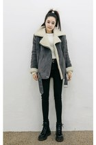 charcoal gray yubsshop jacket - black yubsshop boots - black yubsshop jeans