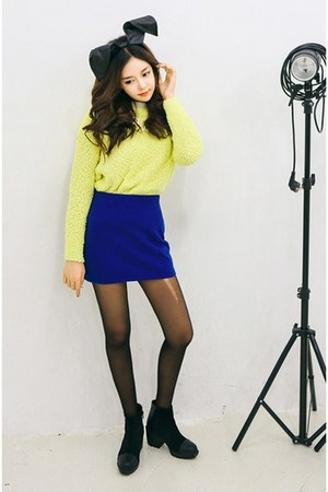 black yubsshop boots - lime green yubsshop shirt - yubsshop tights