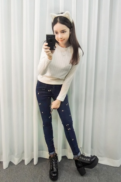 black yubsshop boots - navy yubsshop jeans - white yubsshop top