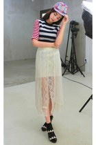 ivory yubsshop skirt - sky blue yubsshop hat - hot pink yubsshop socks