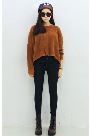 burnt orange yubsshop sweater - yubsshop boots