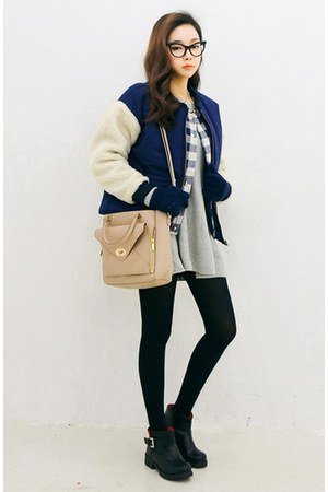 navy yubsshop jacket - black yubsshop boots - opaque tights yubsshop tights