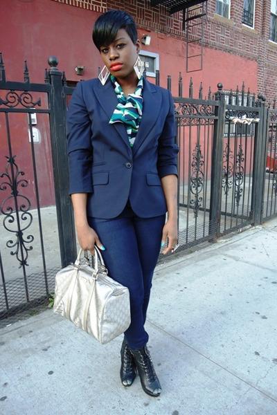 black Kelsi Dagger boots - navy Forever 21 jeans - navy Ann Taylor Loft blazer -