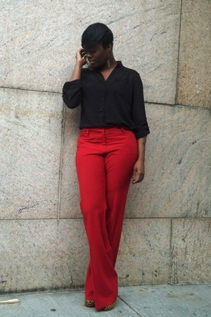 red Victorias Secret pants - black sheer henley necessary clothing blouse