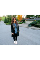 black Zara jacket - white studded ecote boots - black H&M leggings