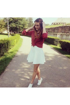 brick red Bershka shirt - white Pimkie skirt
