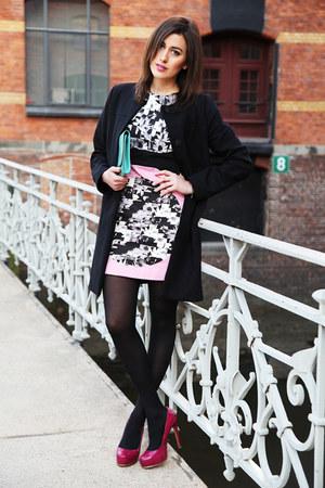 bubble gum Tibi dress - aquamarine Yves Saint Laurent bag
