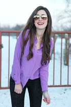 deep purple Closed blouse - black Hallhuber jeans
