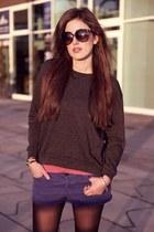 black Topshop boots - gray Topshop sweater