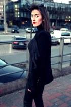 black Zara jeans - black Zara blazer - black Zara blouse