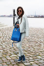 Blue-yves-saint-laurent-shoes-light-blue-closed-jacket-blue-sophie-hulme-bag