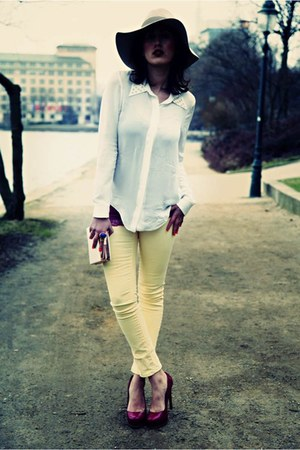 yellow Zara jeans - white Zara blouse - navy YSL accessories