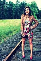 bubble gum asos dress - camel leather jacket Zoe Luu jacket - hot pink Steve Mad