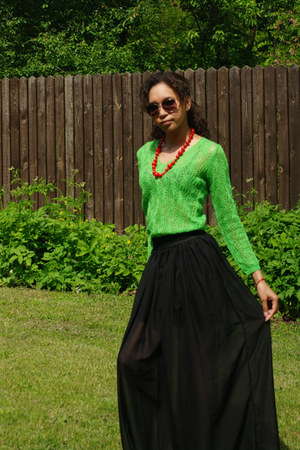black skirt - chartreuse jumper - red necklace