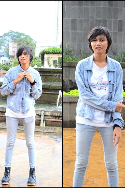 caterpillar boots - cardinal jeans - Linea jacket - Lea t-shirt