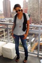 JCrew t-shirt - H&M vest - earnest sewm jeans