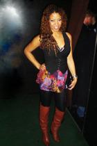 H&M vest - solo blouse - American Apparel leggings - Dolce Vita boots