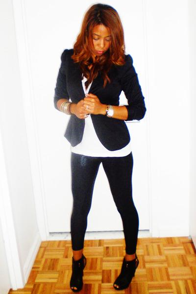 black Nyla shoes - black American Apparel leggings - black Forever 21 blazer