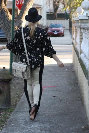 platform Steve Madden boots - black H&M hat - tan snakeskin Urban Outfitters bag