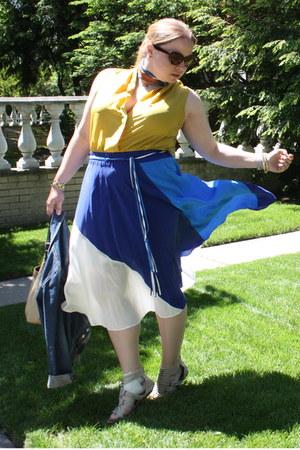 blue silk drape Yumi Kim skirt - yellow faux wrap Forever 21 top