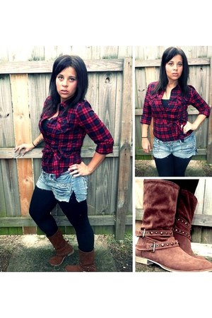 ruby red Forever 21 blouse - brown boots - black leggings