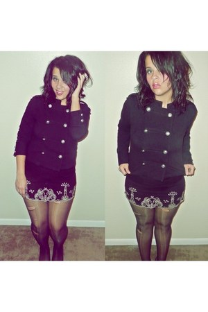 black Rue 21 jacket - black Forever 21 dress - black stockings