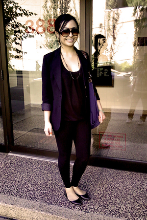 Suzy Shier blazer - Aeries top - TNA leggings - Spring shoes - Claires necklace 