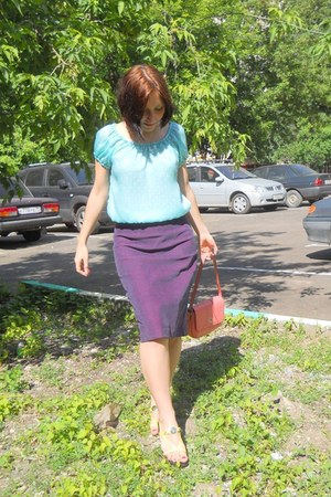 light blue self-made top - purple self-made skirt