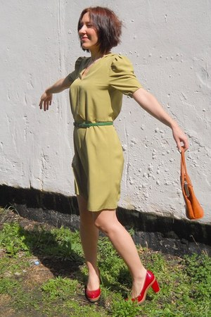 olive green self-made dress