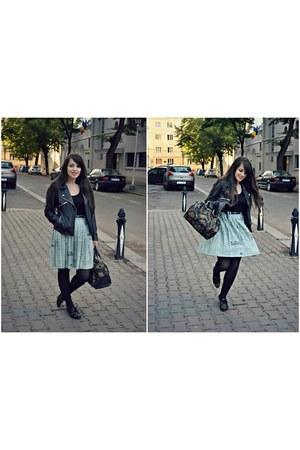 leather Pull & Bear jacket - golden studs Zara shoes - pleated vintage skirt
