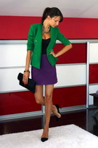green Zara blazer - purple Zara skirt