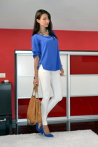 blue Zara blouse - tawny Michael Kors bag - ivory BSB pants