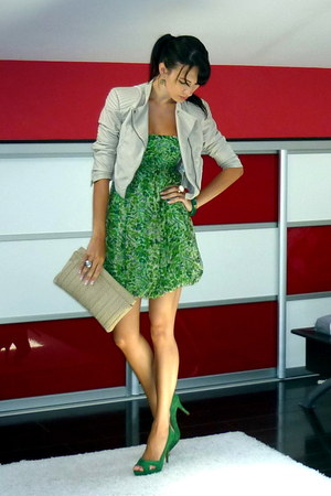 chartreuse Zara dress - off white H&M jacket - green Zara heels