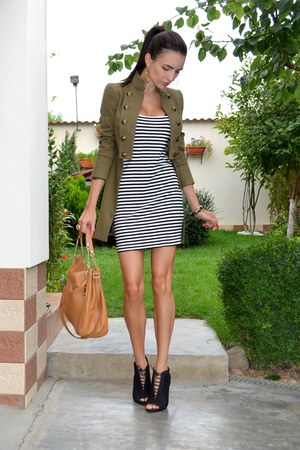 army green Mango jacket - striped DIY dress - tawny Michael Kors bag