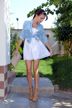 sky blue Mango shirt - white Zara dress