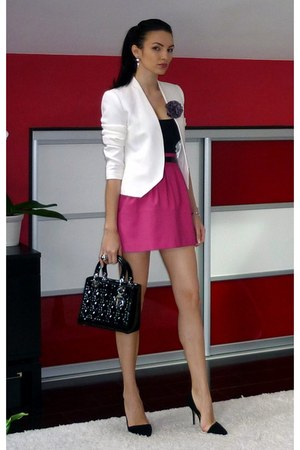 ivory Zara blazer - black dior bag - hot pink Zara skirt