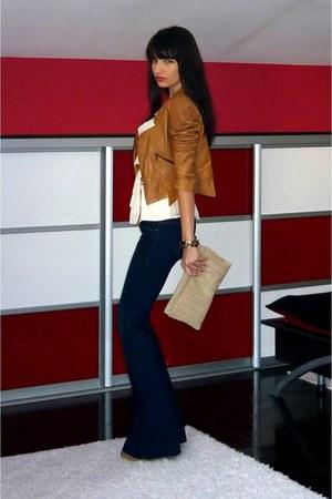 navy Bershka jeans - tawny BSB jacket - ivory Zara blouse