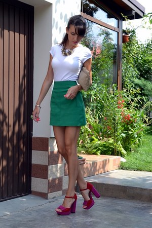hot pink asos sandals - green Zara skirt - white Mango t-shirt