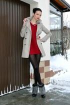 off white Zara coat - ruby red H&M sweater