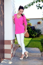 hot pink Zara sweater - ivory BSB pants