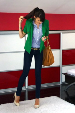 green Zara blazer - teal Zara shirt - tawny Michael Kors bag