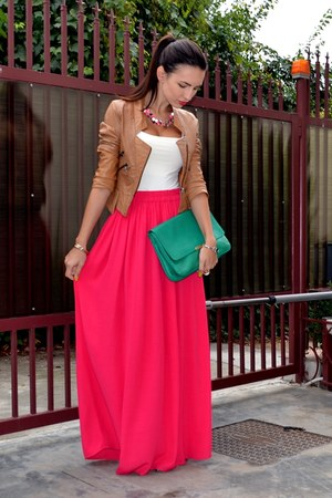 hot pink Zara skirt - tawny BSB jacket