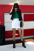 black asos jacket - green Zara top - white Zara skirt