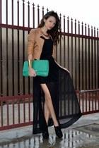 black Zara skirt - tawny BSB jacket - green Zara bag